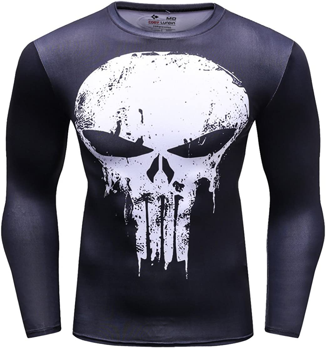 Frank Castle Digital Printing Exercise Fitness and Tights Shirt Long Sleeve Sports T-Shirt Cody Lundin/® Mens Marvel Comics Movie Theme Hero Ant-Man