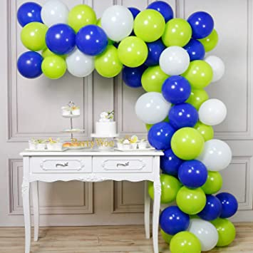 Amazon.com: PartyWoo - Globos de color azul y verde, 70 ...