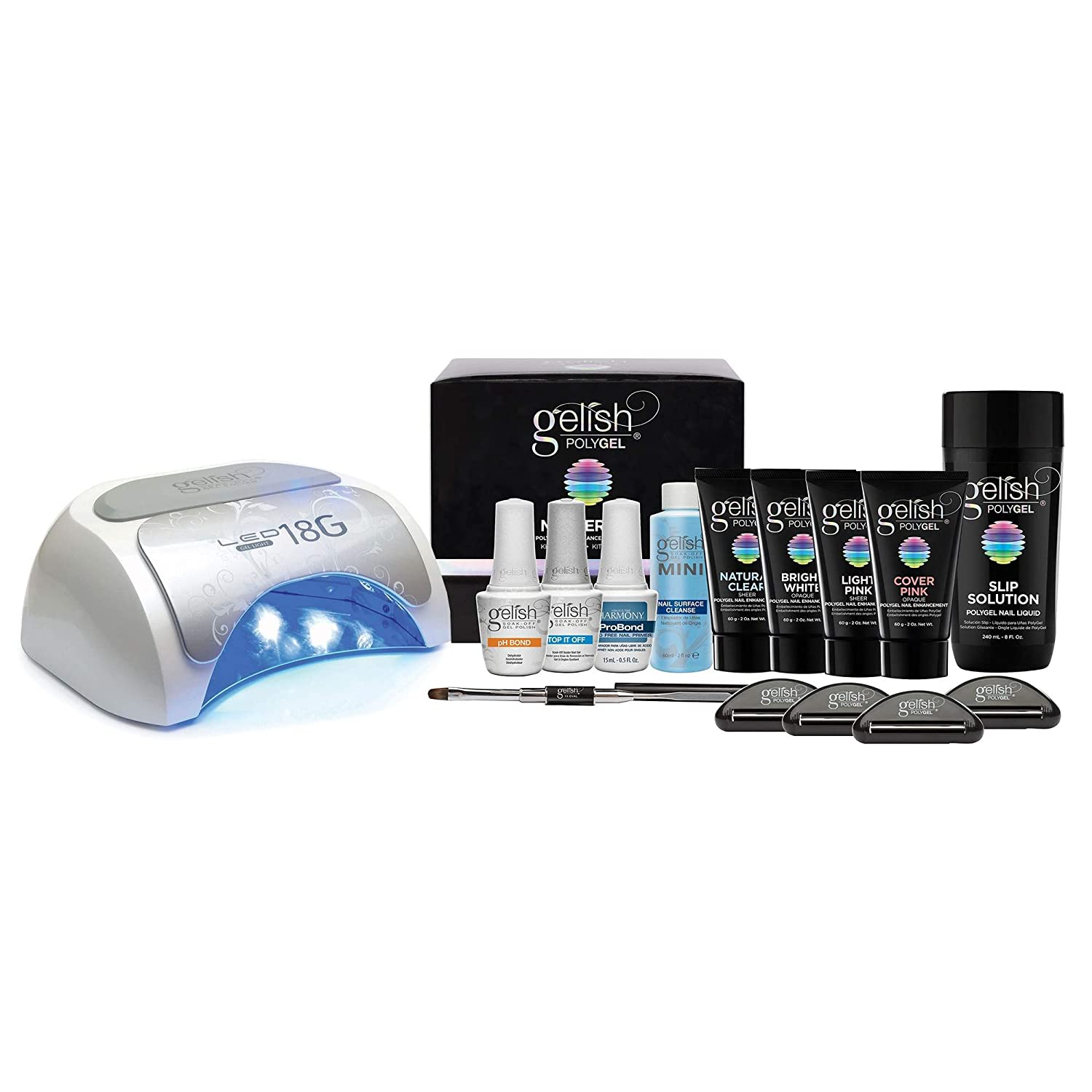 Gelish 12G LED Gel Polish Curing Lamp Light + PolyGel Professional Nail  Technician All in One Enhancement Master Kit