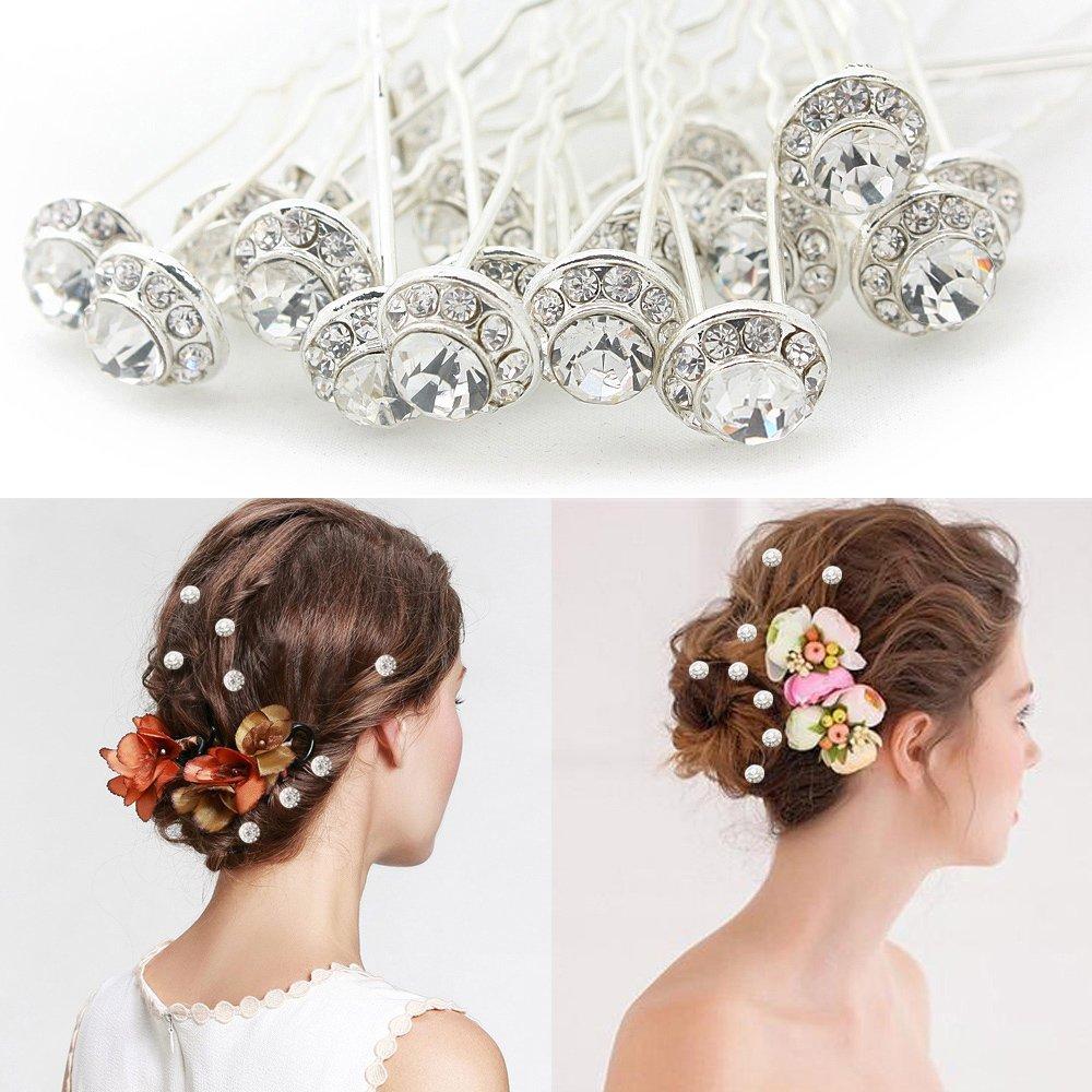 Épingles Nuptiales à Cheveux avec Perles Pince Cheveux Cristal de Fête Barrette Strass (Lot de 20 Pièces) Newbee