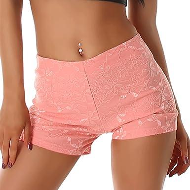Damen Frauen Hose kurz Shorts high waist schwarz elegant Sommer Sport Pants  (34 bis 36