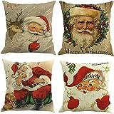 """Throw Pillowcase, Shybuy Santa Claus Indoor & Outdoor Throw Pillow Cover Xmas Holiday Home Decor Cushion Cover Set of 4 (Multicolor, 18""""x18"""")"""
