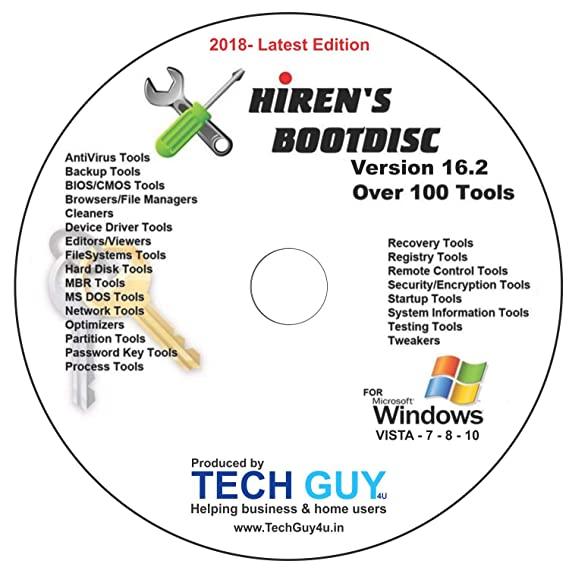 Hirens Boot CD 16 2 Tool to Fix & Repair All PC Problems 2018- Latest  Edition - Printed DVD Label