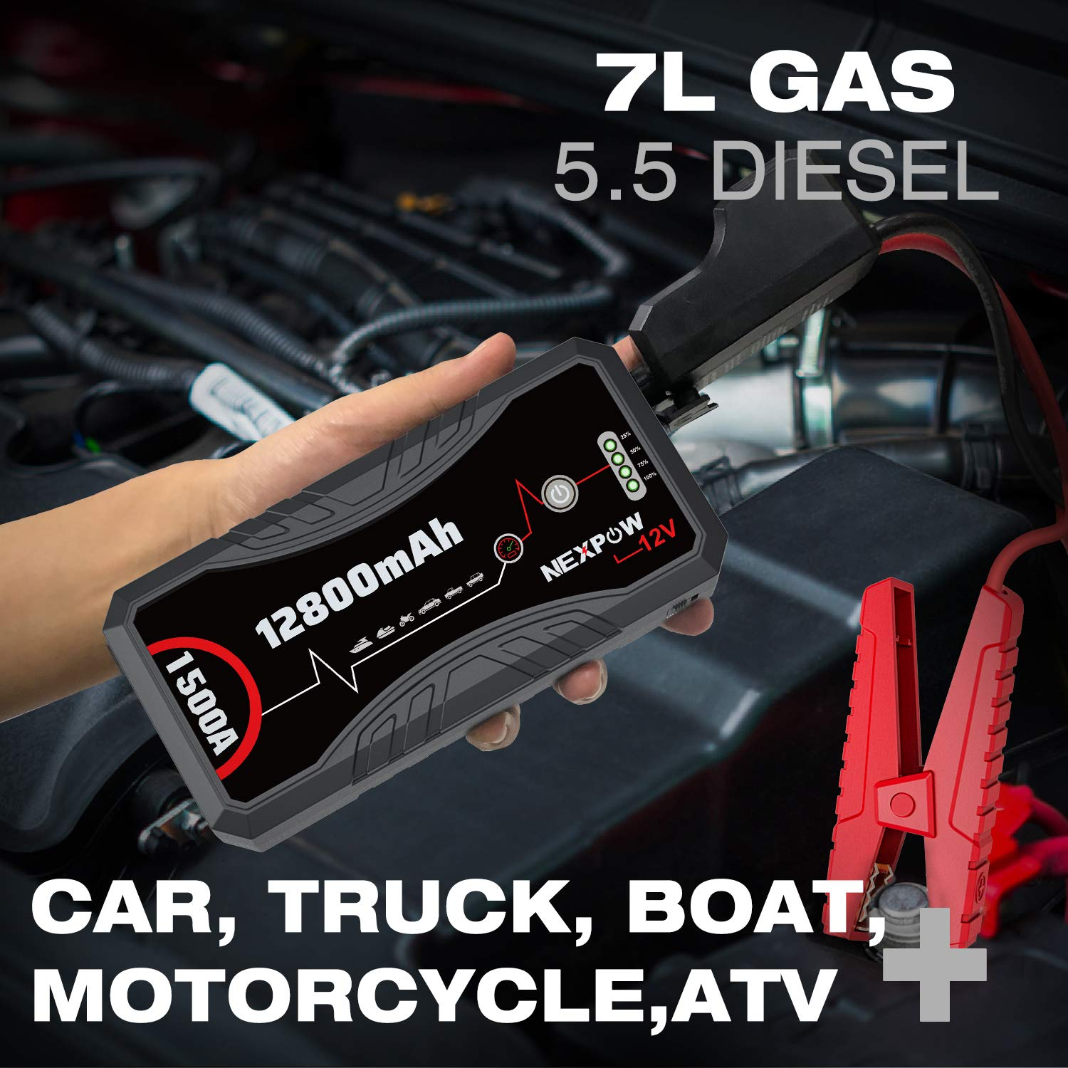 1500A Peak 12800mAh 12V Car Auto Jump Starter Power Pack with USB Quick Charge 3.0 Up to 7L Gas or 5.5L Diesel Engine NEXPOW Car Battery Starter Q10S
