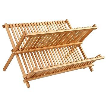 Escurreplatos de bambú con capacidad para 34 platos  Amazon.es  Hogar fff950c4ce70