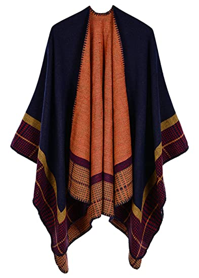 Cape Poncho Femme Grande Taille Tricot Tartan Vintage Style Foulard Chaud  Ouverture Large Epais Châle Longue Couverture Discret Hiver Automne au  Genou  ... d59a5192fc6