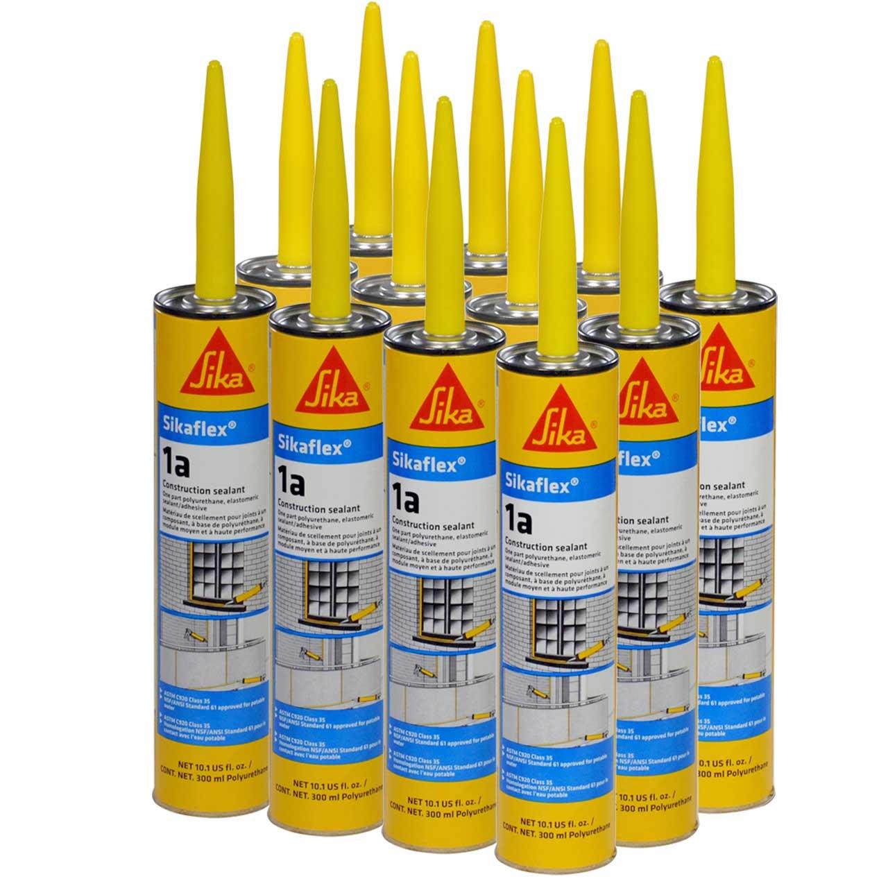 Sikaflex 1A Polyurethane Premium Grade High Performance Elastomeric Sealant, 10.3 fl oz Capacity, Gray, 12 Tubes
