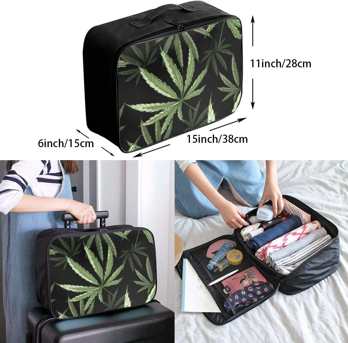 Yunshm Tropical Palm Leaves Personalized Trolley Handbag Waterproof Unisex Large Capacity For Business Travel Storage
