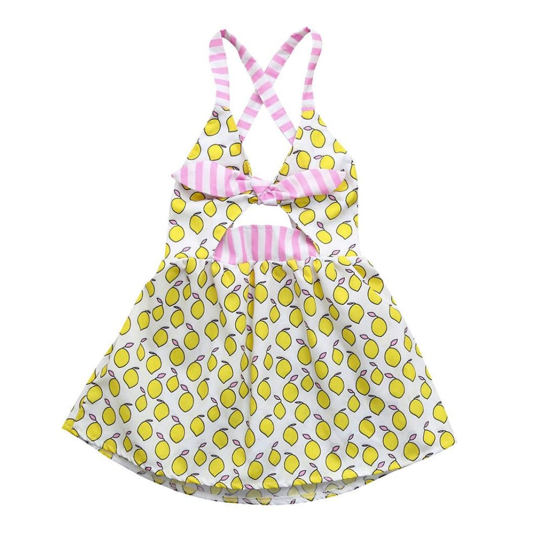 Vincent&July Baby Girls Lemon Print Strap Backless Summer Dresses 0-24 Months