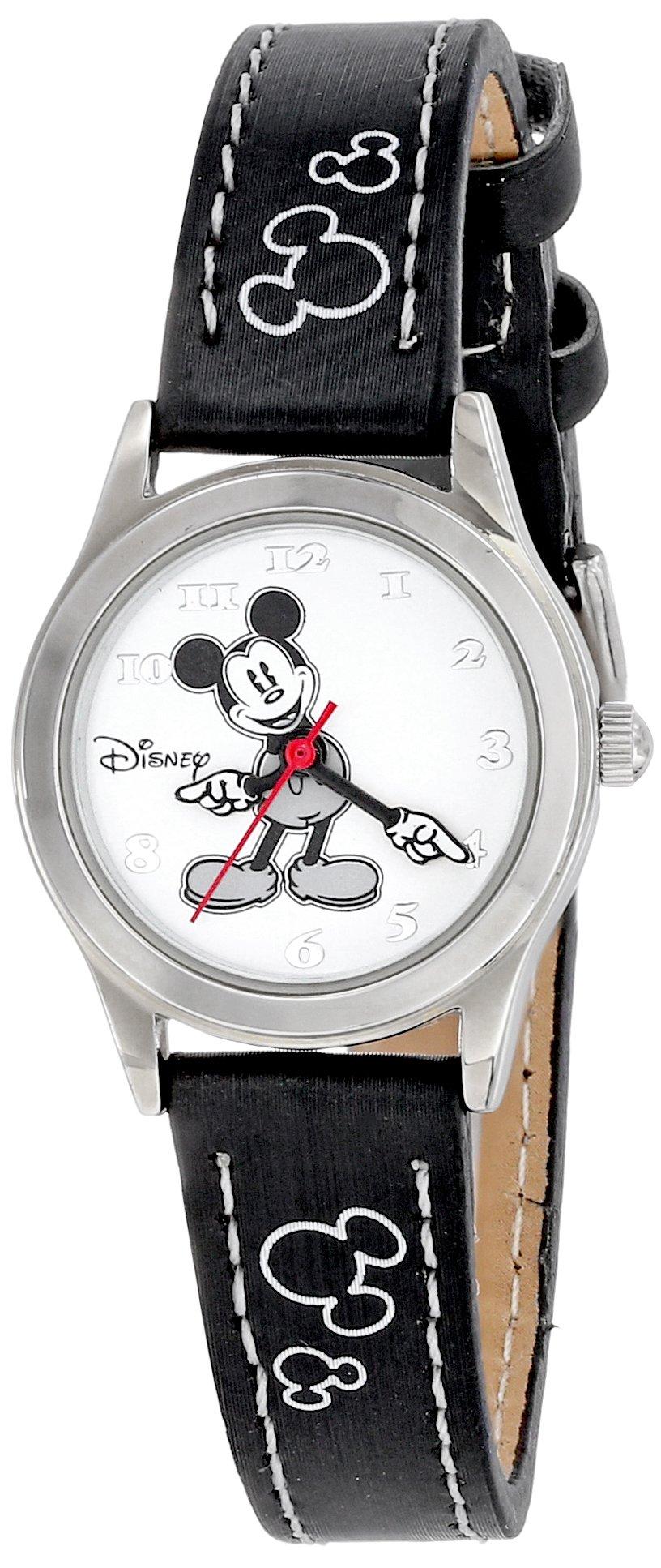 Women's MK1006 Mickey Mouse White Dial Black Strap Watch