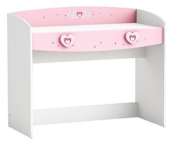 Schreibtisch weiß/rosa Holz Mädchen Kinderschreibtisch ...