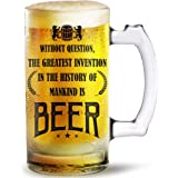 Ramposh Beer Glass Gifts for Women and Men, Beer Mug -Funny Vintage Beer Mug perfect birthday or anniversary gift Ideas for Him, Her, Father, Mother, Brother, Sister, friend, Dad, Mom, Husband or Wife. Bar Glasses. Party Decorations Beer Mug Cup, Happy New Year gift, Diwali gift, Valentine Gift Printed Beer Mug Glass 500 ml