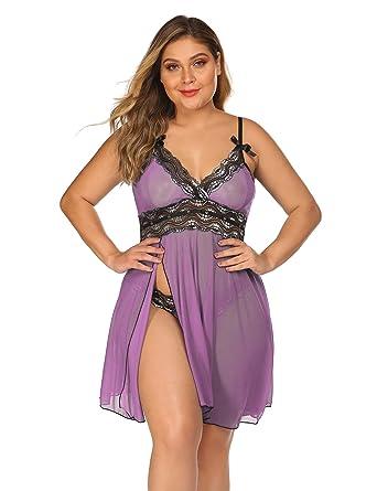 a0d84cf6454 Plus Size Womens Deep V Babydoll Strap Lingerie Lace Chemise Teddy Outfits  Purple