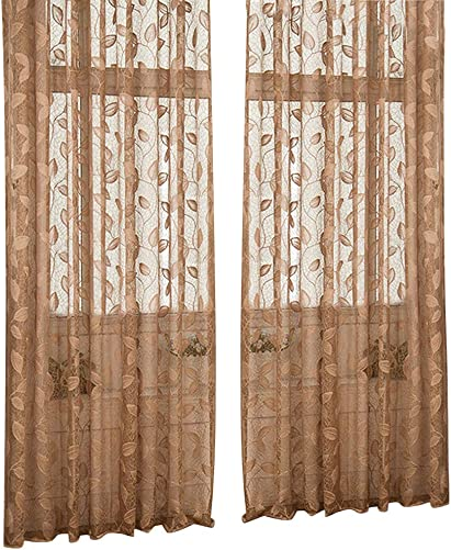 Aside Bside Leave Pattern Wrap Knitting Jacquard Sheer Curtains Rod Pockets Semi Transparent Draperies Decoration For Living Room Dining Room and Kids Room 1 Panel, W50 x L84 inch, Light Coffee