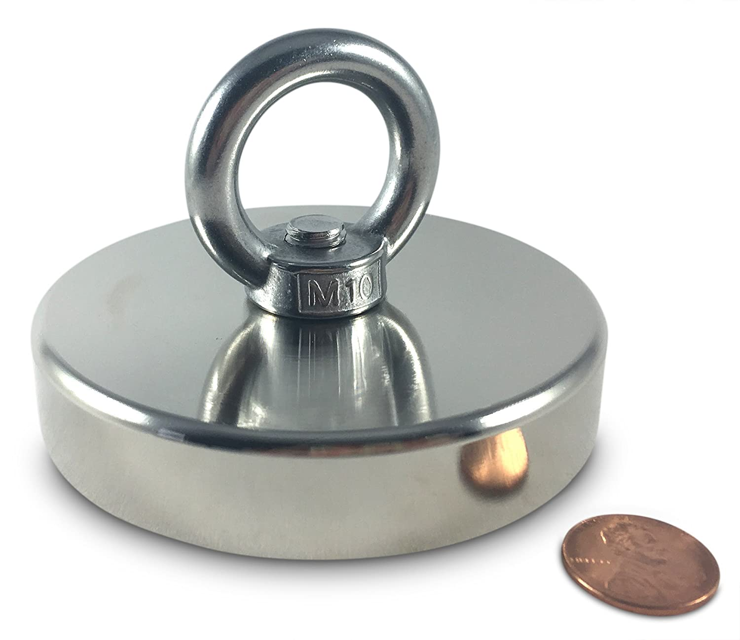 """Brute Magnetics Round Neodymium Magnet with Countersunk Hole and Eyebolt, 500 LBS Pulling Force, 3.54"""" Diameter"""