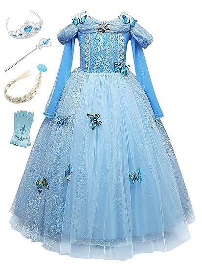 5f1c2192db4 Beunique Fille Robe Princesse avec Papillon Reine des Neiges Bleu Costume  Déguisements Robe de Soirée Carnaval Cadeau pour Enfant  Amazon.fr   Vêtements et ...