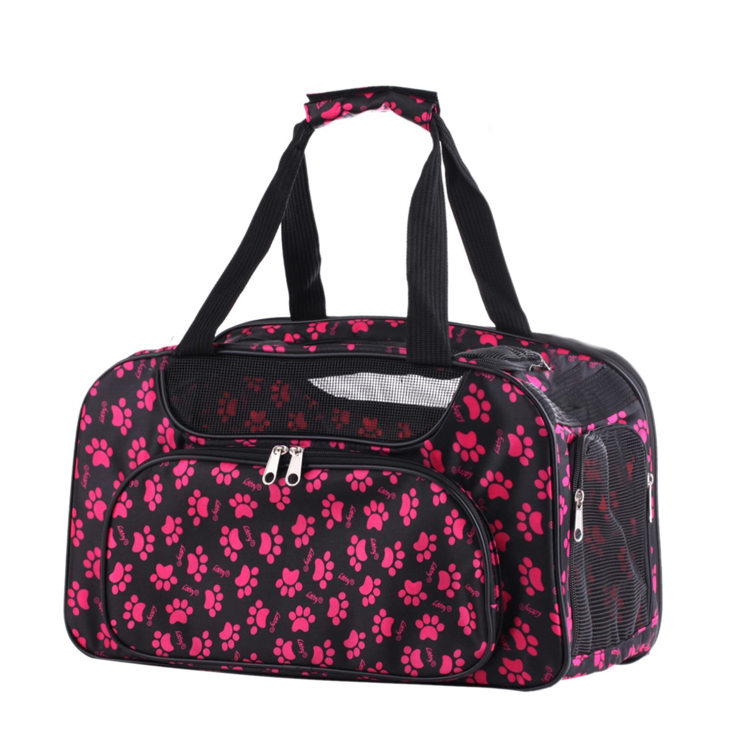 Pet Carrier Airline Approved Travel Bag Yorkie Vet Shihtzu Cat Kitten Cage Tote (Pink)