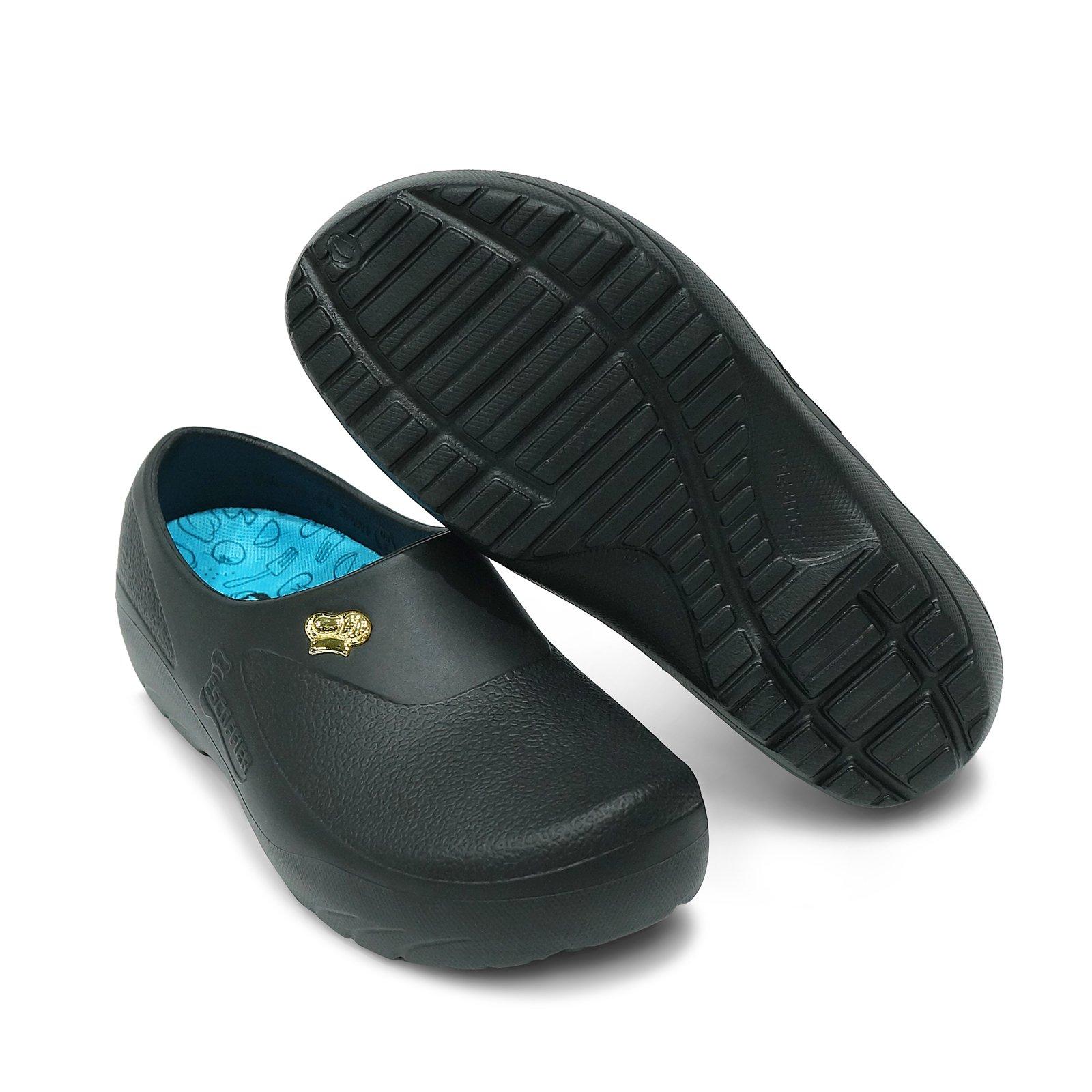 ESCOFFIER Waterproof Kitchen Chef Nurse Clog - Work Mule Shoes for Men Women (SMT-15) (US10, Black) by ESCOFFIER