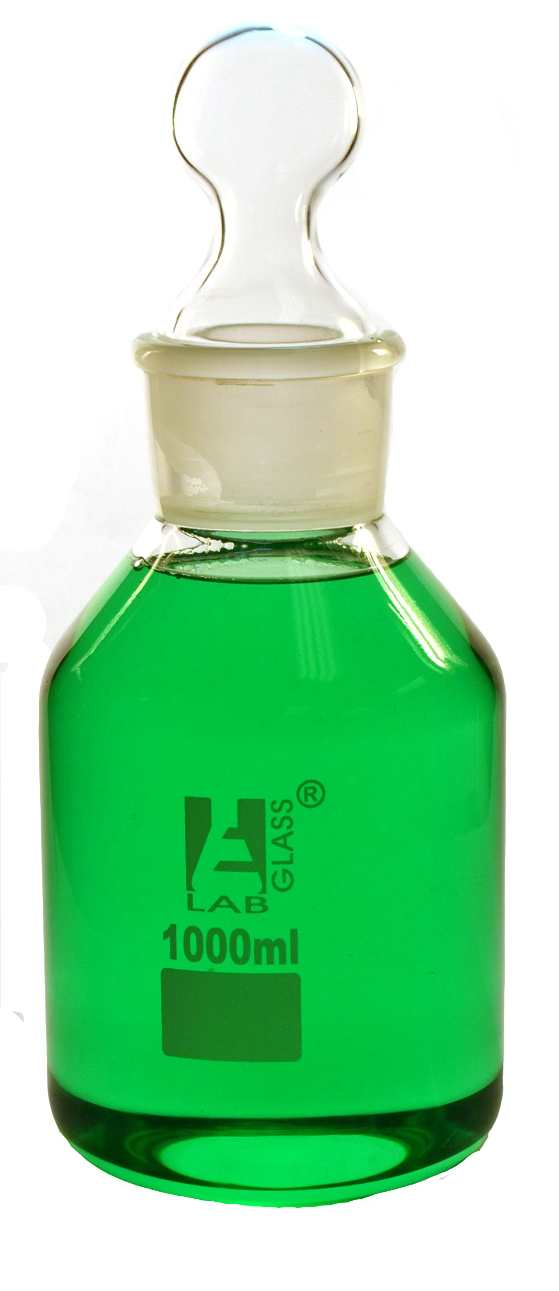Eisco Labs 1000 ml Reagent Bottle - Borosilicate Glass with wide mouth and stopper