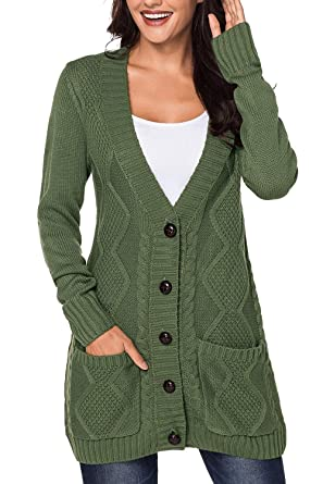 14d1bdb8907d Viottis Women s Cable Knit Button Chunky Warm Long Cardigan Coat for Women  Army Green S