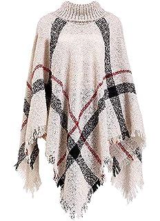 Sykooria Womens Knit Poncho Scarf Plaid Fleece Cosy Wrap Shawl Wool Blanket Pashminas Cover Up