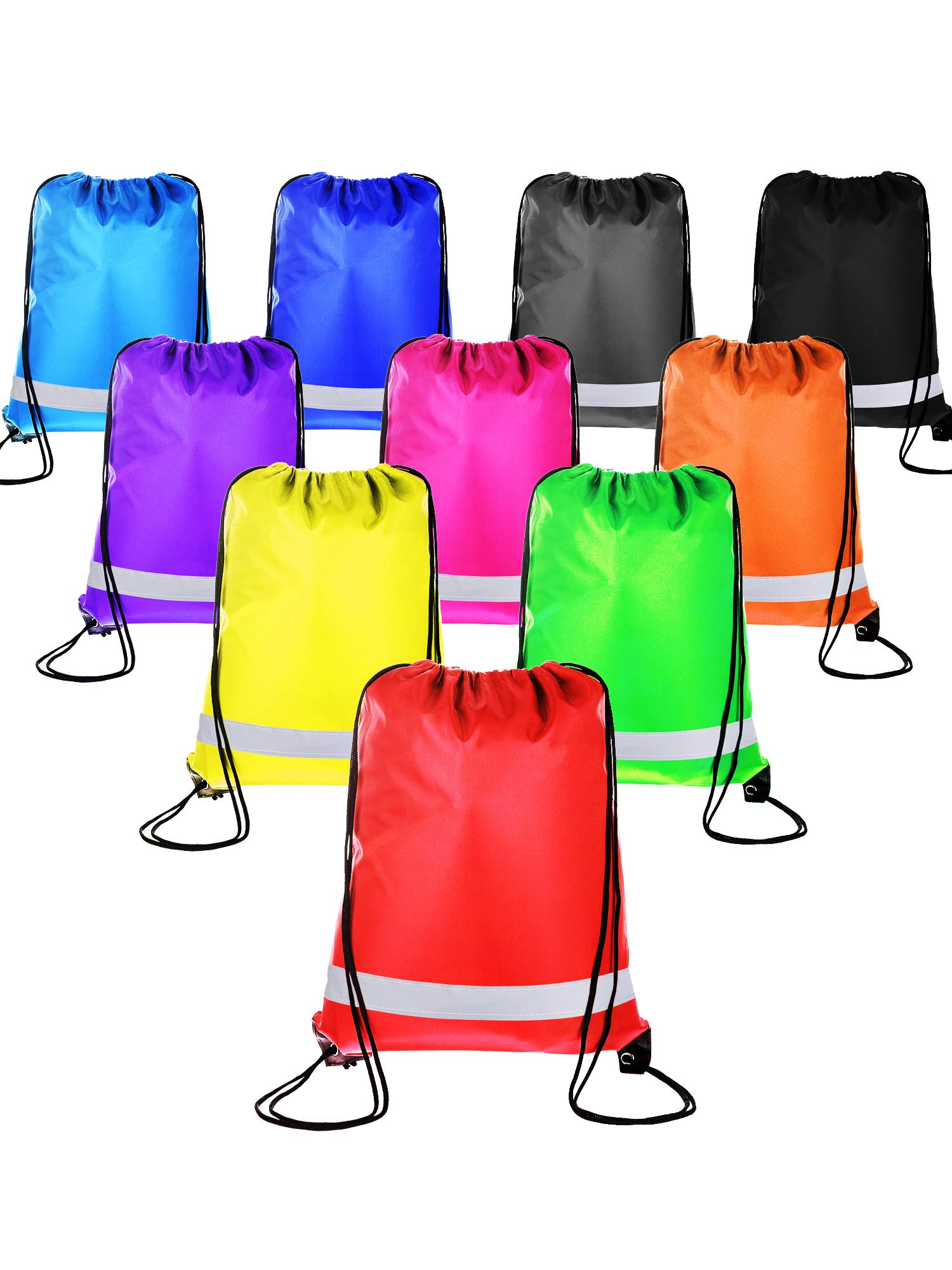 BBTO 10 Pieces Drawstring Backpack Sport Bag Cinch Tote Travel Rucksack for Traveling and Storage (Reflective 10 Colors)