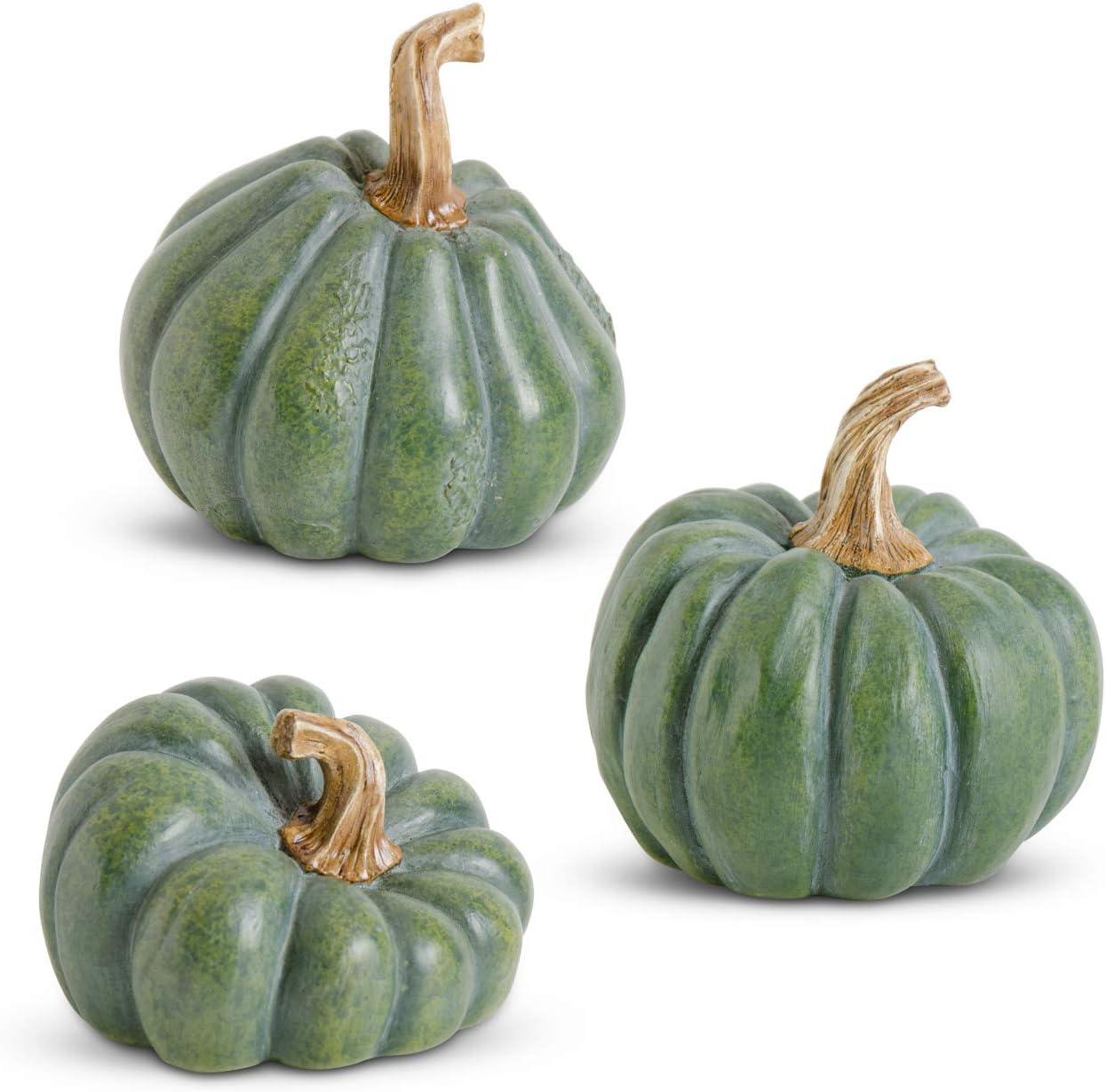 K&K Interiors 41594A-GR Assorted Green Resin Pumpkins (3 Styles)