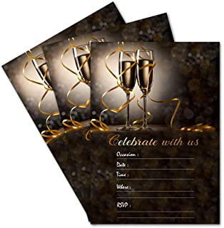 Amazon 25th silver wedding anniversary party invitations 25 celebrate with us champagne double sided 5x7 party invitations kit with gold metallic pen stopboris Images