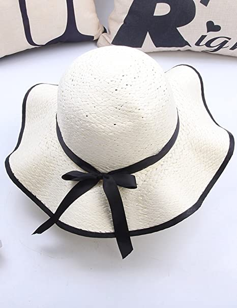 ea93559b0 Sun hat Summer Is Big Along The Waves Sun Hat Bow Tie Anti-beach Cap ...