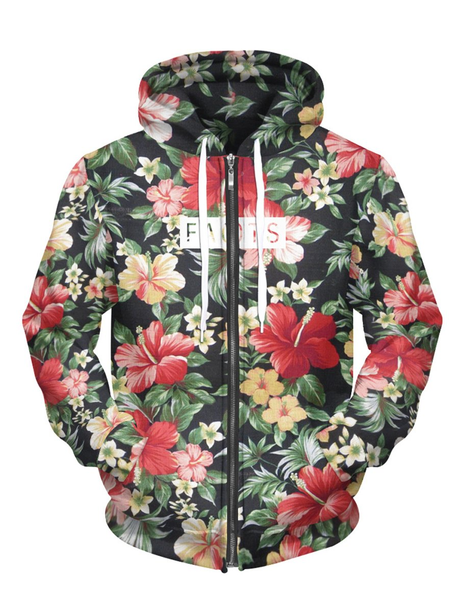 Royalove Jackets For Women Winter Sale Print Long Sleeve Zip Up Hoodies Sweatshirt Outfit Flower Medium