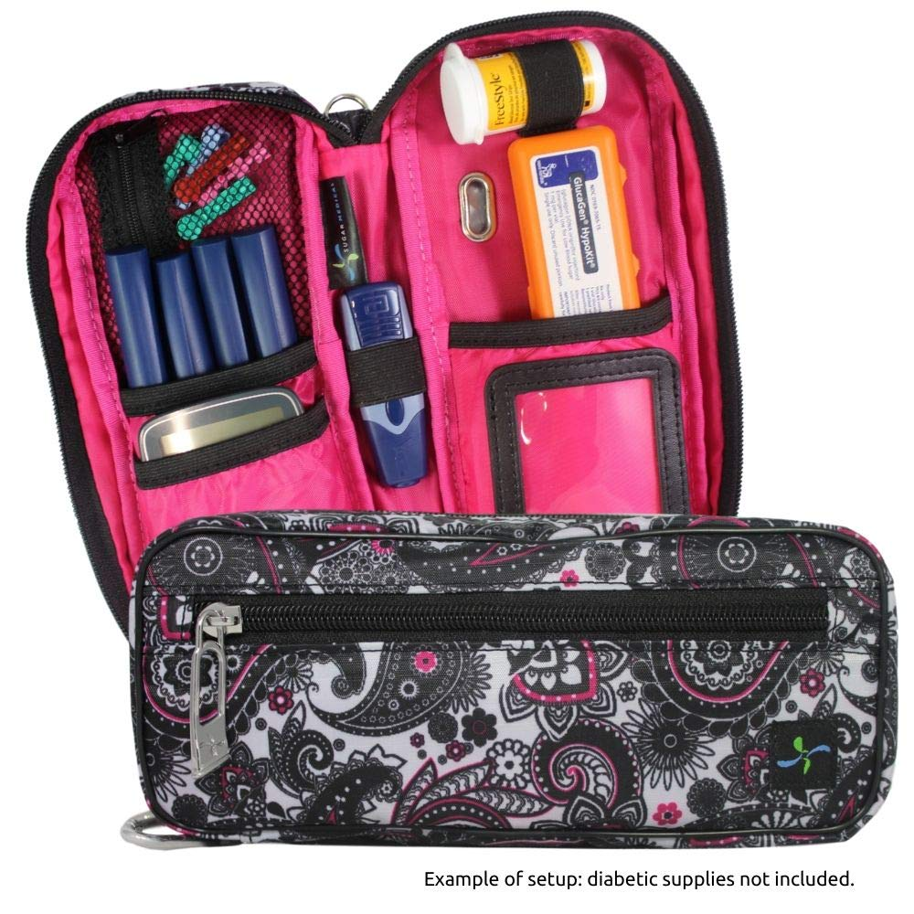 Sugar Medical Carry- All Medical Supply Case - Fits Diabetic Supplies, Glucagon, Epipen or Auvi-q or Asthma Inhalers (Olivia) by Sugar Medical