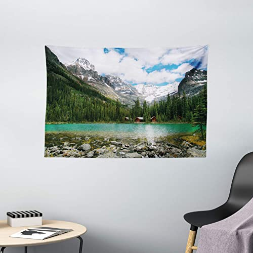 Ambesonne Landscape Tapestry, Canada Ohara Lake Yoho National Park with Mountains Nature Scenery Art Photo, Wide Wall Hanging for Bedroom Living Room Dorm, 60 X 40 , Green Blue