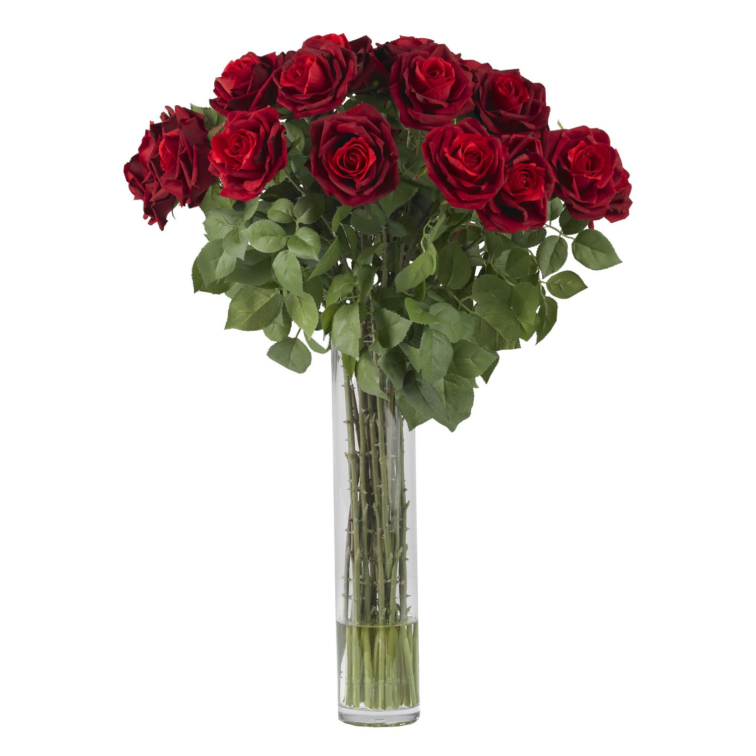 Nearly Natural 1215 Rose Silk Flower Arrangement, Large, Red by Nearly Natural