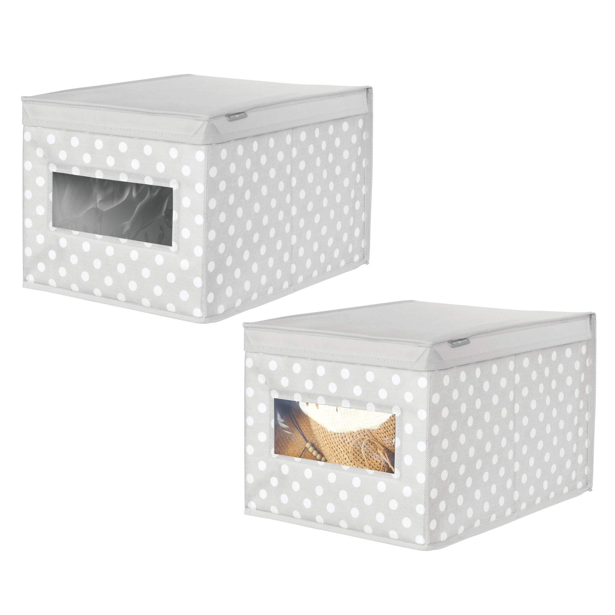 mDesign Soft Stackable Fabric Closet Storage Organizer Holder Box - Clear Window, Attached Hinged Lid, for Child/Kids Room, Nursery - Polka Dot Pattern - Large, Pack of 2, Light Gray with White Dots by mDesign (Image #1)