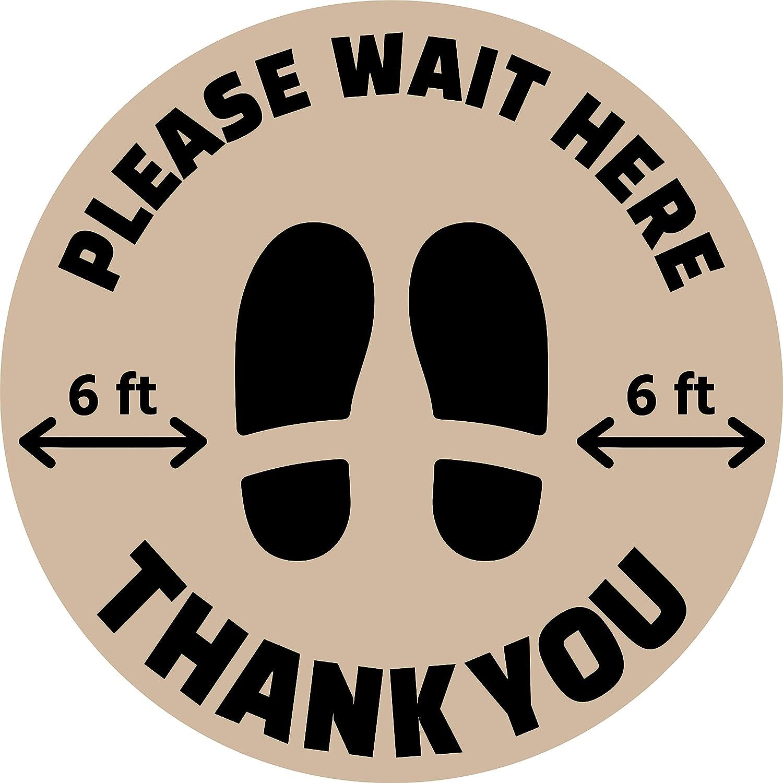 """Beige Hot4TShirts Social Distancing Floor Decals /— 6 Feet Apart Removable Floor Sticker /— Non-Slip Textured Vinyl /— 14/"""" Round"""