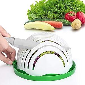 Salad Cutter Bowl Family Size Upgraded Salad Maker, Fast Fruit Vegetable Salad Chopper Bowl, Fresh Salad Slicer Dishwasher Safe BPA-Free