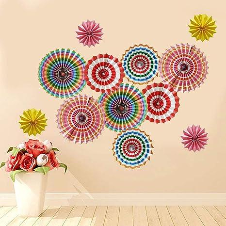 Amazon.com: Coloridos abanicos de papel arco iris para ...