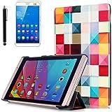 Ottimo Cover Huawei Mediapad M2 8'',PU Pelle Slim Smart Flip Case Cover per 8'' Huawei Mediapad M2 8.0 M2-801L Android Tablet Custodia in Pelle con Supporto + pellicola protettiva + Pennino,Piazza