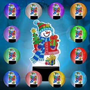 Snowman Night Light for Kids, 5D Diamond Painting Night-Light, 7-Color Changing Night Lights for Bedroom, Living Room and Office, USB Rechargeable & Battery Powered