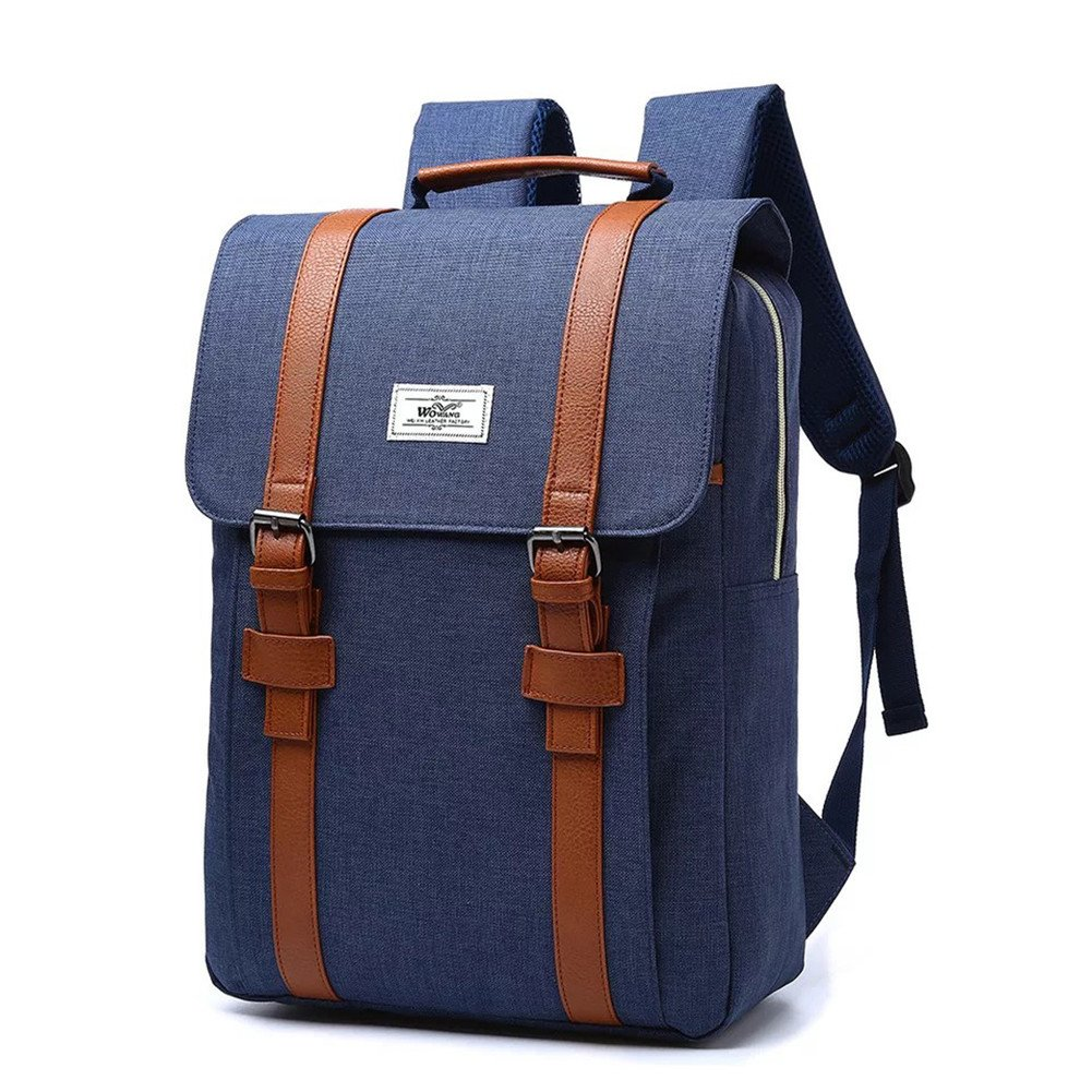 7606356c71f5 More Luck Vintage Canvas Backpacks PU Leather 15.6