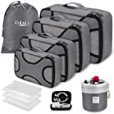 Packing Cubes for Travel, DIMJ 10 PCS Luggage Organiser for Suitcase Lightweight Travel Essentials Bag with Vacuum Storage Bag for Clothes Shoes Cosmetics Toiletries Cable Storage Bags (Gray)
