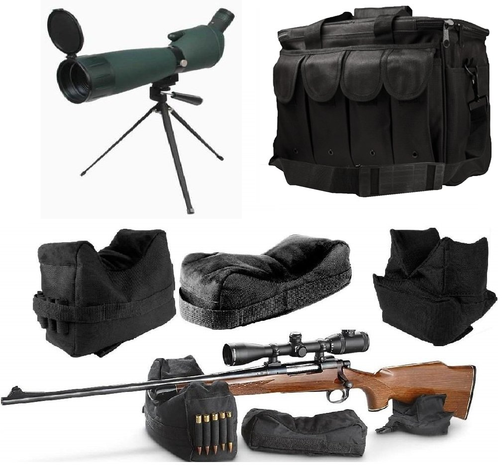 25-75x75 Rubber Armored Sniper Spotter Hunting Spotting Scope + Tripod + Sunshade + QD Shooting Rifle Shotgun & Muzzle Loader Steady Shooter Support Bag Set + Range Bag with Magazine Ammo Pouches by Ultimate Arms Gear