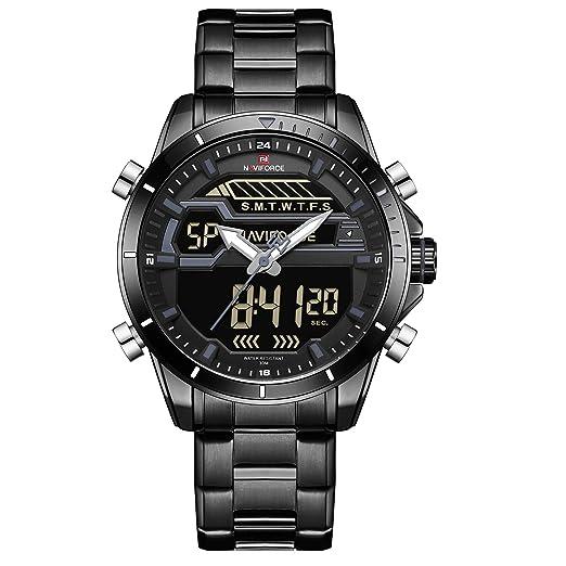 Naviforce Reloj de Pulsera analógico Digital de Acero Inoxidable para Hombre, Estilo Militar Deportivo,