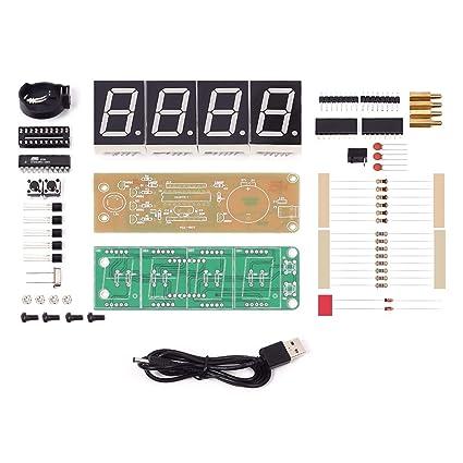 amazon com maluokasa 1 inch 4 bits digital alarm clock diy kit blueElectronic Production Suite 51 Diy Parts Kit Clock Circuit Training #13