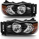 Headlight Assembly for 2002-2005 Dodge Ram Pickup Headlamp Replacement Black Housing Amber Reflector Clear Lens