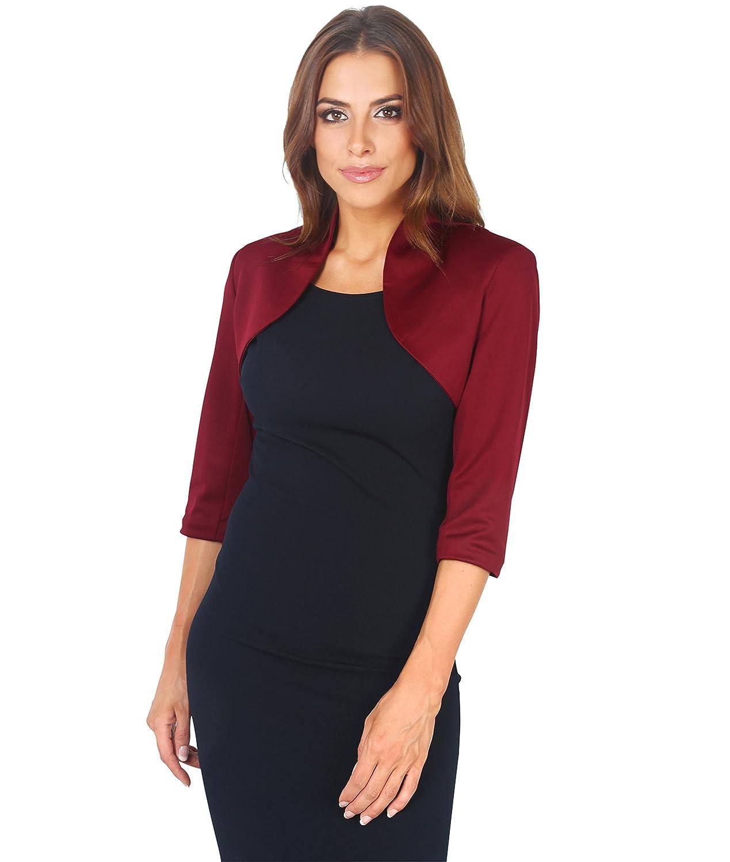KRISP Womens 3/4 Sleeve Cropped Tailored Evening Blazer Party Shrug Plus Size 6706.24