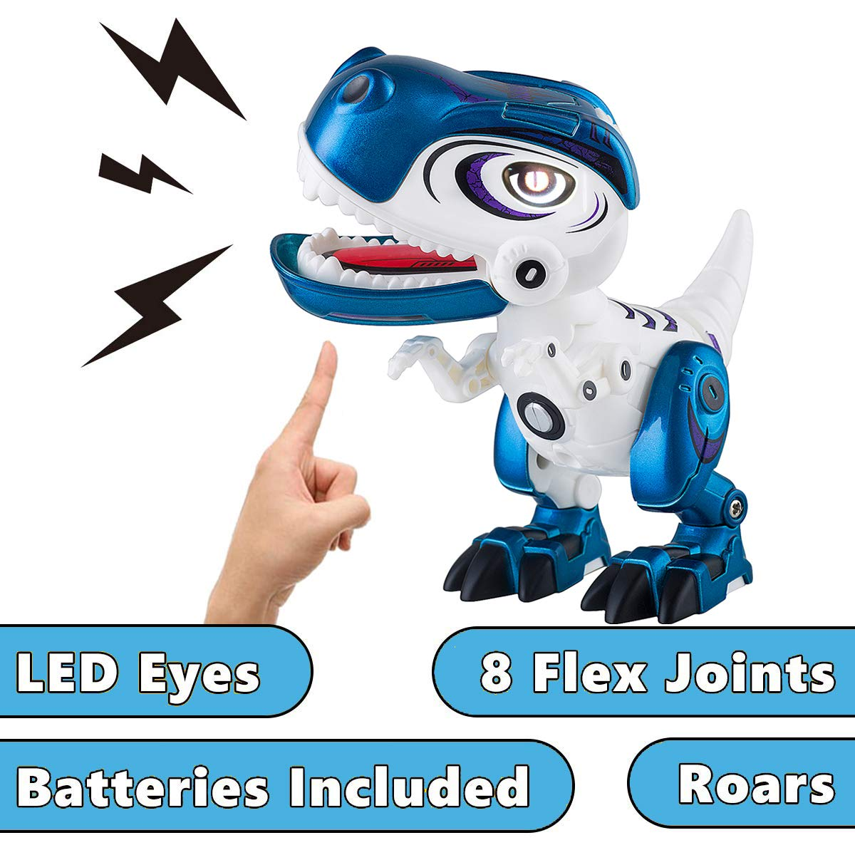 Dolibi Dinosaur Toys for 3 Year Olds Up,Mini Dino Toys Dinosaur Robot,Flexible Body,Sound & Lights (Blue) by Dolibi (Image #2)