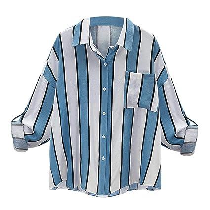 f2f1bebf6a9 Amazon.com   Elaco Women s Casual Loose Shirt With Poket Vintage Long  Sleeve Striped Blouse (Blue