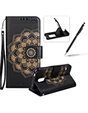 Rope Leather Case for Samsung Galaxy S5,Strap Wallet Case for Samsung Galaxy S5,Herzzer Bookstyle Classic Elegant Mandala Flower Pattern Stand Magnetic Smart Leather Case with Soft Inner for Samsung Galaxy S5 + 1 x Free Black Cellphone Kickstand + 1 x Free Black Stylus Pen - Black