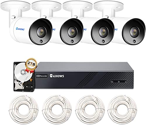 AIHOWS 5Mp PoE Home Security Camera System with 4 IP Surveillance Cameras, 8CH H.265 NVR Home Surveillance Video System Cover 2TB HDD for 24 7 Sound Video Recording